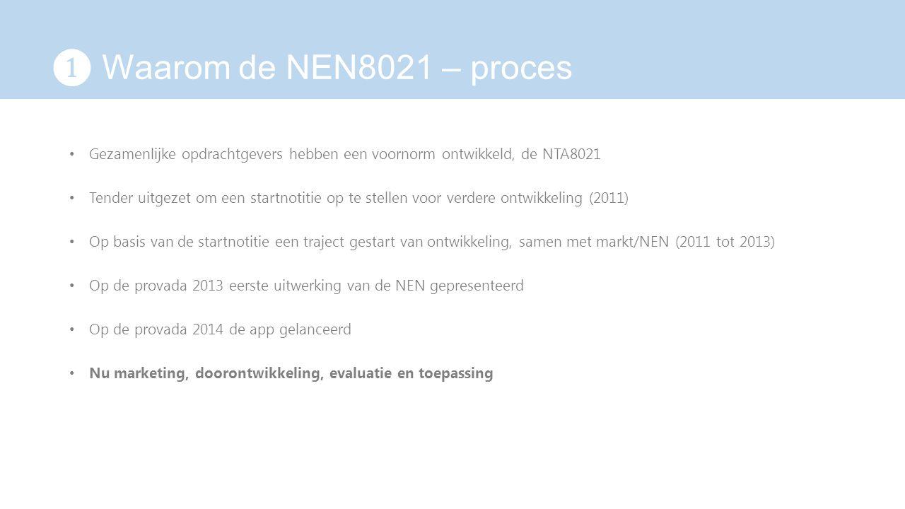 ❶ Waarom de NEN8021 – proces Gezamenlijke opdrachtgevers hebben een voornorm ontwikkeld, de NTA8021 Tender uitgezet om een startnotitie op te stellen