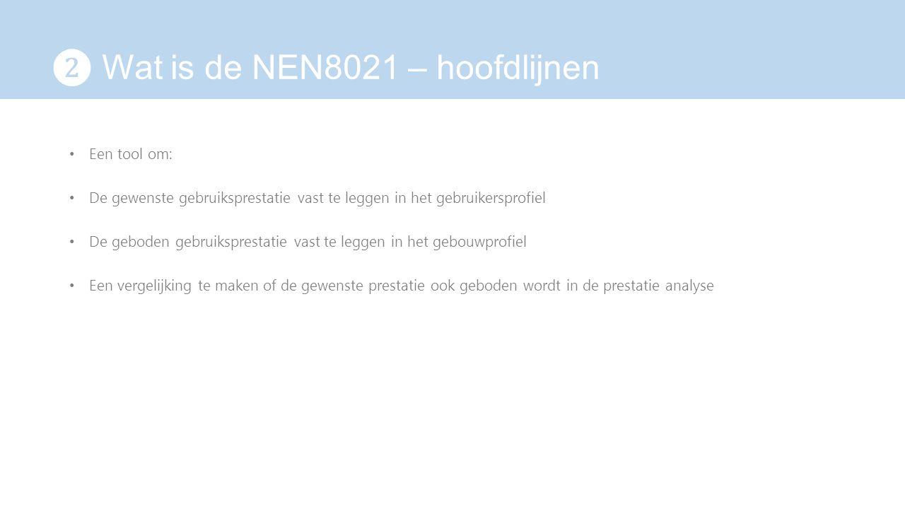 ❷ Wat is de NEN8021 – hoofdlijnen Een tool om: De gewenste gebruiksprestatie vast te leggen in het gebruikersprofiel De geboden gebruiksprestatie vast