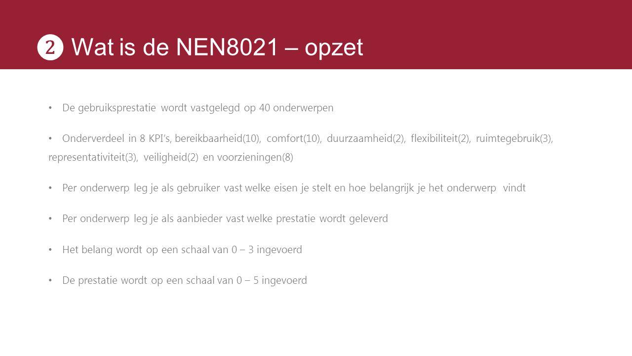 ❷ Wat is de NEN8021 – opzet De gebruiksprestatie wordt vastgelegd op 40 onderwerpen Onderverdeel in 8 KPI's, bereikbaarheid(10), comfort(10), duurzaam