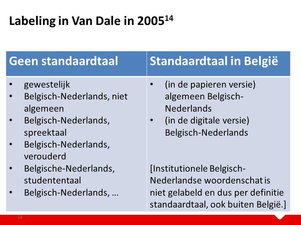Labeling in Van Dale in 2005 14 24 Geen standaardtaalStandaardtaal in België gewestelijk Belgisch-Nederlands, niet algemeen Belgisch-Nederlands, spree