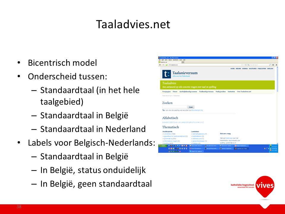 Taaladvies.net Bicentrisch model Onderscheid tussen: – Standaardtaal (in het hele taalgebied) – Standaardtaal in België – Standaardtaal in Nederland L