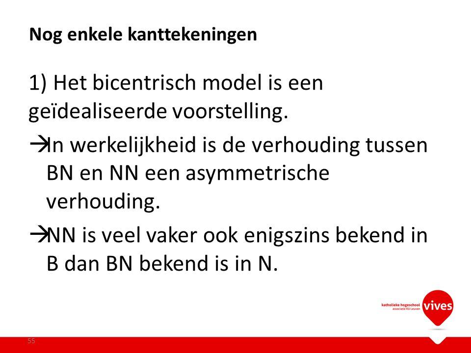 1) Het bicentrisch model is een geïdealiseerde voorstelling.  In werkelijkheid is de verhouding tussen BN en NN een asymmetrische verhouding.  NN is