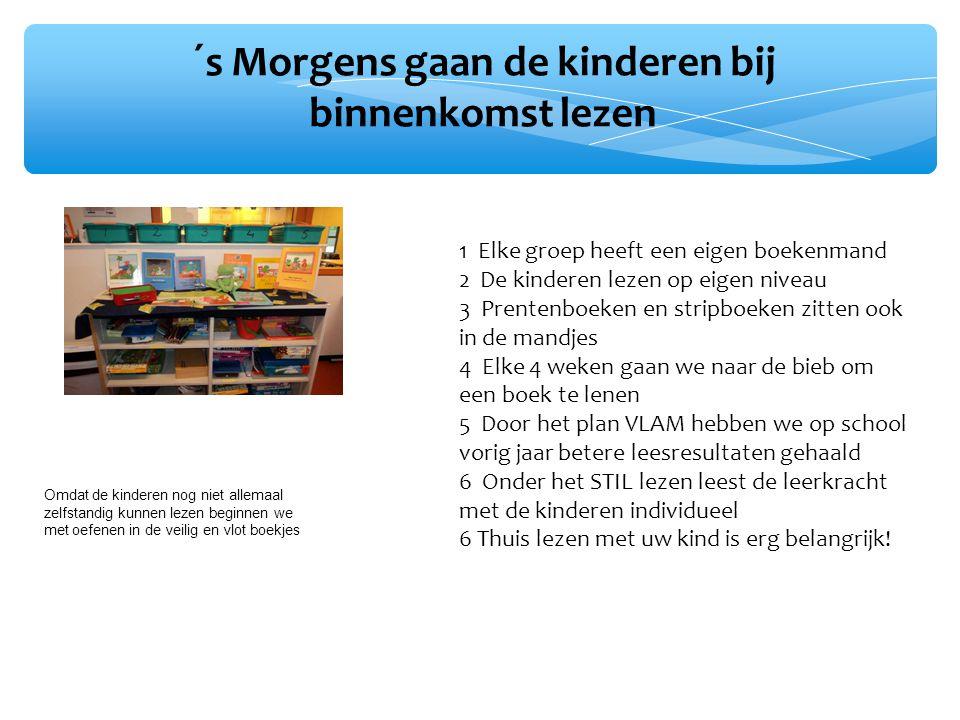 ´s Morgens gaan de kinderen bij binnenkomst lezen 1 Elke groep heeft een eigen boekenmand 2 De kinderen lezen op eigen niveau 3 Prentenboeken en strip