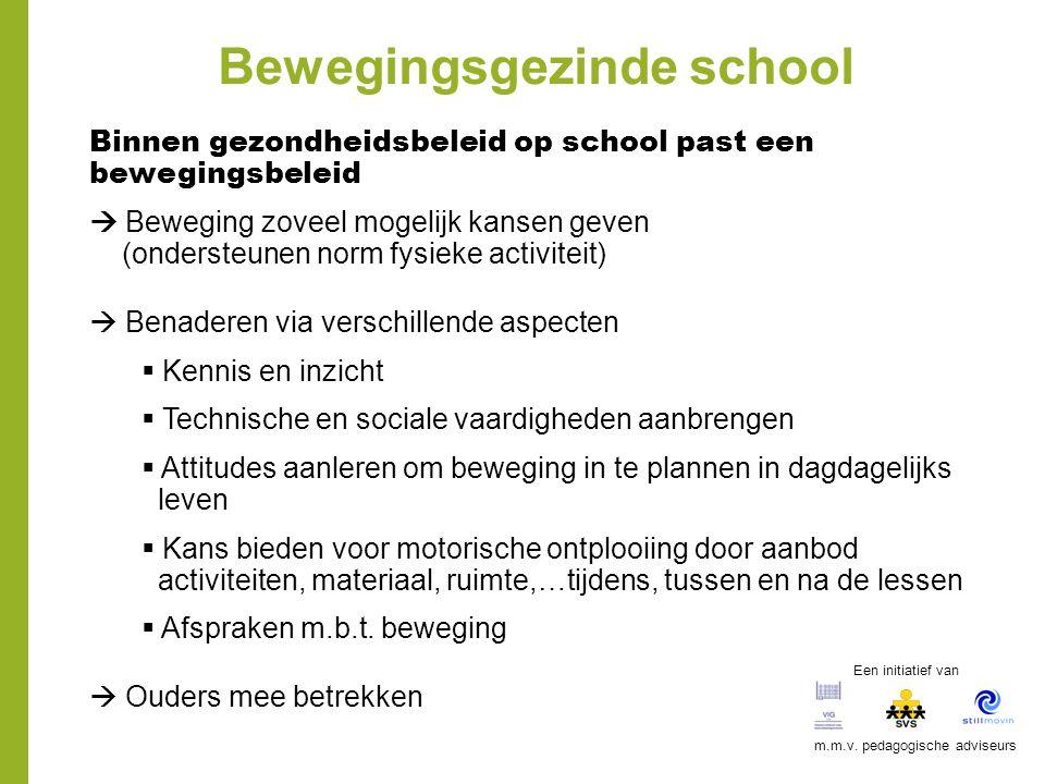 Bewegingsgezinde school Binnen gezondheidsbeleid op school past een bewegingsbeleid  Beweging zoveel mogelijk kansen geven (ondersteunen norm fysieke