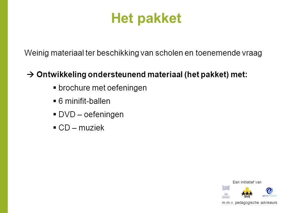 Het pakket Weinig materiaal ter beschikking van scholen en toenemende vraag  Ontwikkeling ondersteunend materiaal (het pakket) met:  brochure met oe