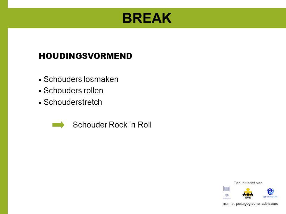 BREAK HOUDINGSVORMEND  Schouders losmaken  Schouders rollen  Schouderstretch Schouder Rock 'n Roll Een initiatief van m.m.v. pedagogische adviseurs