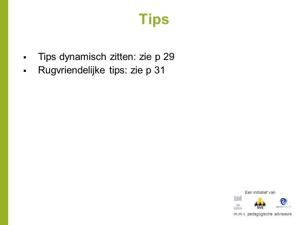 Tips  Tips dynamisch zitten: zie p 29  Rugvriendelijke tips: zie p 31 Een initiatief van m.m.v. pedagogische adviseurs