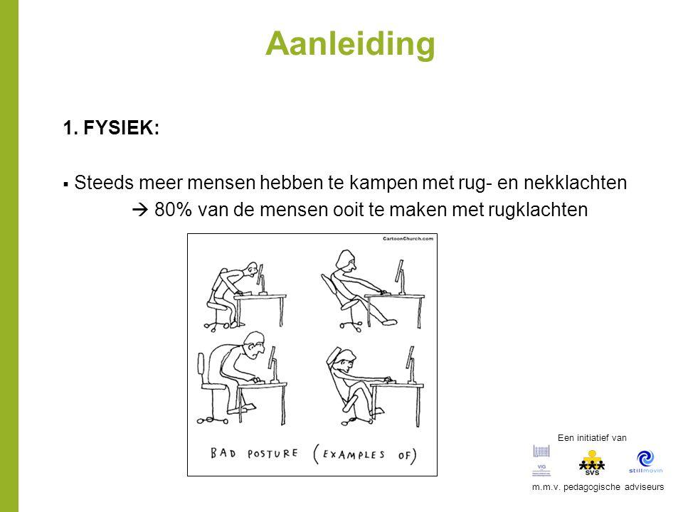 Aanleiding 1. FYSIEK:  Steeds meer mensen hebben te kampen met rug- en nekklachten  80% van de mensen ooit te maken met rugklachten Een initiatief v