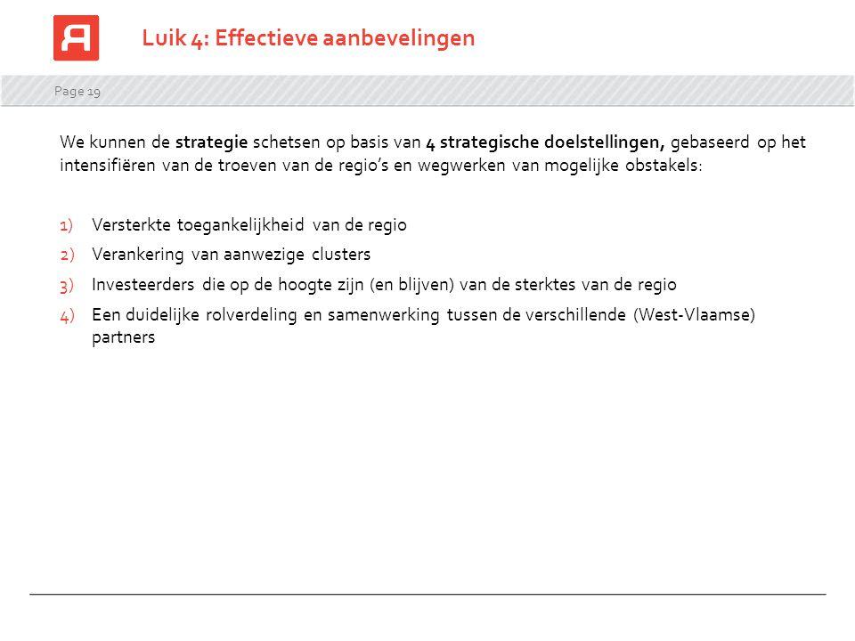 Page 19 Luik 4: Effectieve aanbevelingen We kunnen de strategie schetsen op basis van 4 strategische doelstellingen, gebaseerd op het intensifiëren van de troeven van de regio's en wegwerken van mogelijke obstakels: 1)Versterkte toegankelijkheid van de regio 2)Verankering van aanwezige clusters 3)Investeerders die op de hoogte zijn (en blijven) van de sterktes van de regio 4)Een duidelijke rolverdeling en samenwerking tussen de verschillende (West-Vlaamse) partners