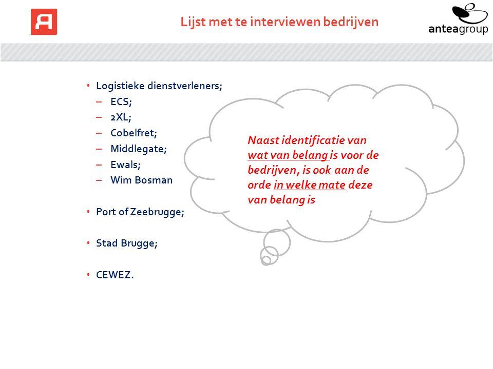 Lijst met te interviewen bedrijven Logistieke dienstverleners; – ECS; – 2XL; – Cobelfret; – Middlegate; – Ewals; – Wim Bosman Port of Zeebrugge; Stad Brugge; CEWEZ.