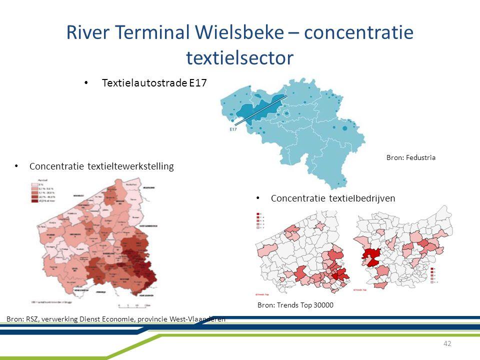 River Terminal Wielsbeke – concentratie textielsector 42 Textielautostrade E17 Bron: Fedustria Bron: RSZ, verwerking Dienst Economie, provincie West-Vlaanderen Concentratie textieltewerkstelling Bron: Trends Top 30000 Concentratie textielbedrijven