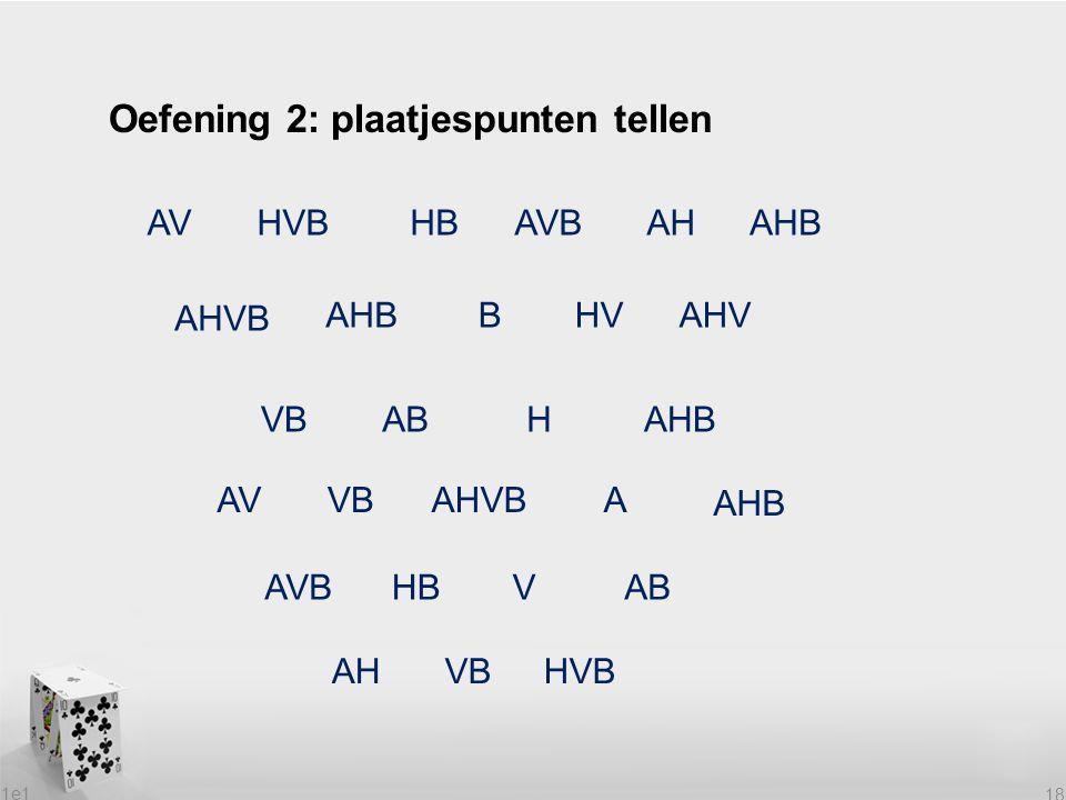1e1 18 Oefening 2: plaatjespunten tellen AVHVBHBAVBAHAHB AHVB AHBBHVAHV VBABHAHB AVVBAHVBA AHB AVBHBVAB AHVBHVB