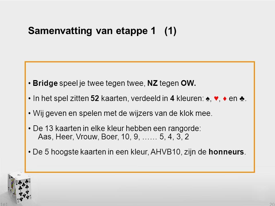 1e1 20 Bridge speel je twee tegen twee, NZ tegen OW. In het spel zitten 52 kaarten, verdeeld in 4 kleuren: ♠, ♥, ♦ en ♣. Wij geven en spelen met de wi