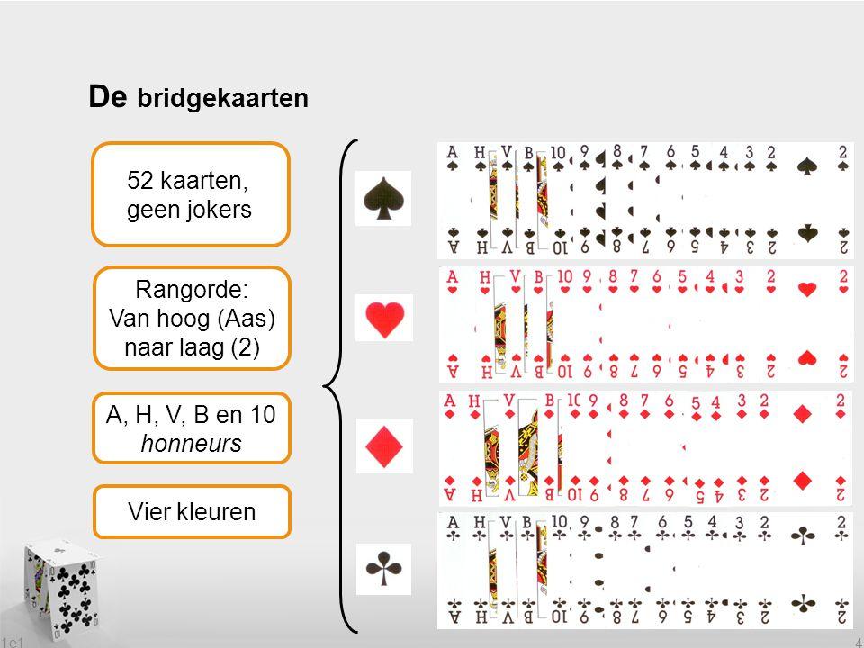 1e1 4 De bridgekaarten Rangorde: Van hoog (Aas) naar laag (2) Vier kleuren 52 kaarten, geen jokers A, H, V, B en 10 honneurs