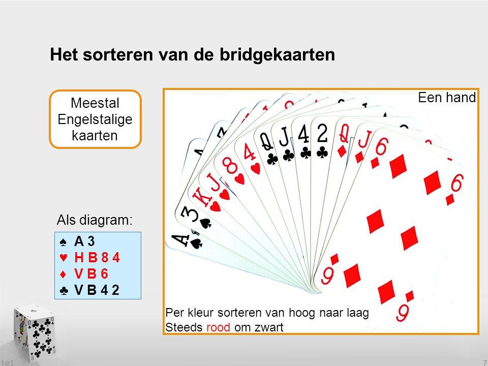 1e1 7 Het sorteren van de bridgekaarten Een hand Per kleur sorteren van hoog naar laag Steeds rood om zwart Meestal Engelstalige kaarten ♠A 3 ♥H B 8 4