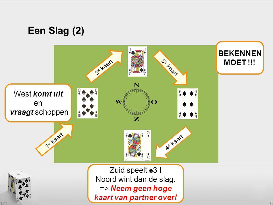 1e1 9 Een Slag (2) 1 e kaart 2 e kaart 4 e kaart Welke kaart speelt Zuid? Zuid speelt ♠3 ! Noord wint dan de slag. => Neem geen hoge kaart van partner