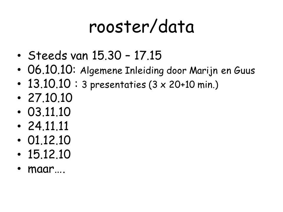 rooster/data Steeds van 15.30 – 17.15 06.10.10: Algemene Inleiding door Marijn en Guus 13.10.10 : 3 presentaties (3 x 20+10 min.) 27.10.10 03.11.10 24