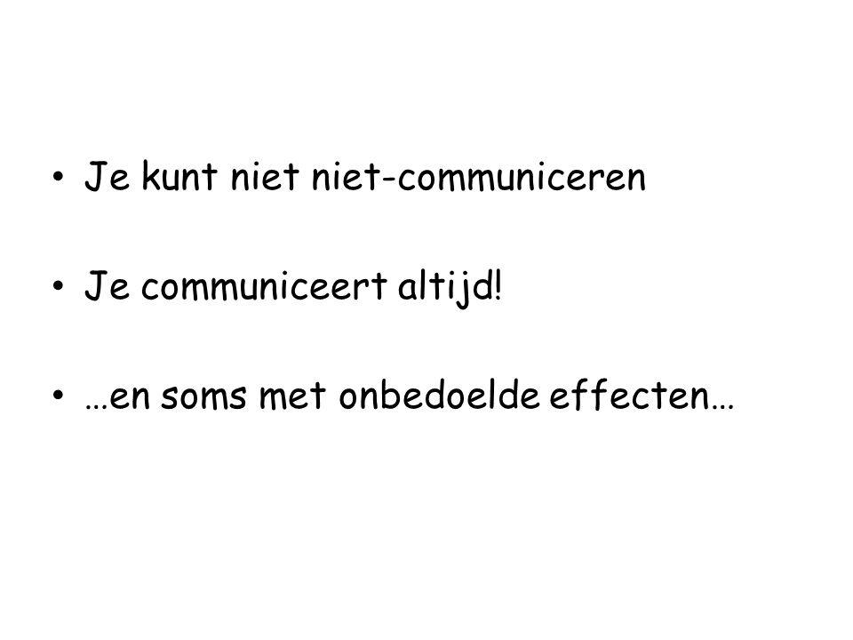 Je kunt niet niet-communiceren Je communiceert altijd! …en soms met onbedoelde effecten…