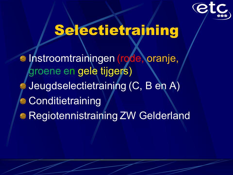 Selectietraining Instroomtrainingen (rode, oranje, groene en gele tijgers) Jeugdselectietraining (C, B en A) Conditietraining Regiotennistraining ZW Gelderland