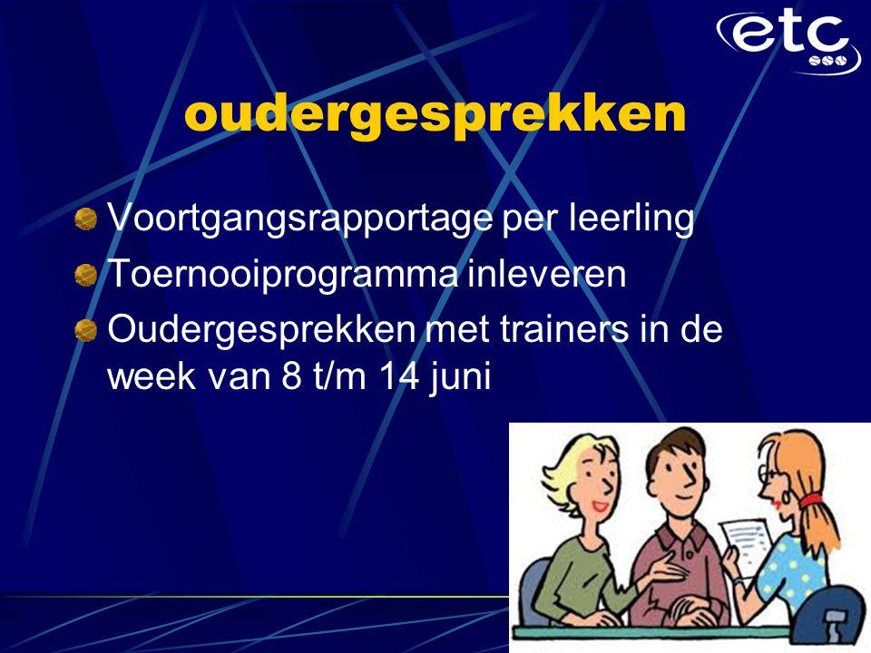 oudergesprekken Voortgangsrapportage per leerling Toernooiprogramma inleveren Oudergesprekken met trainers in de week van 8 t/m 14 juni