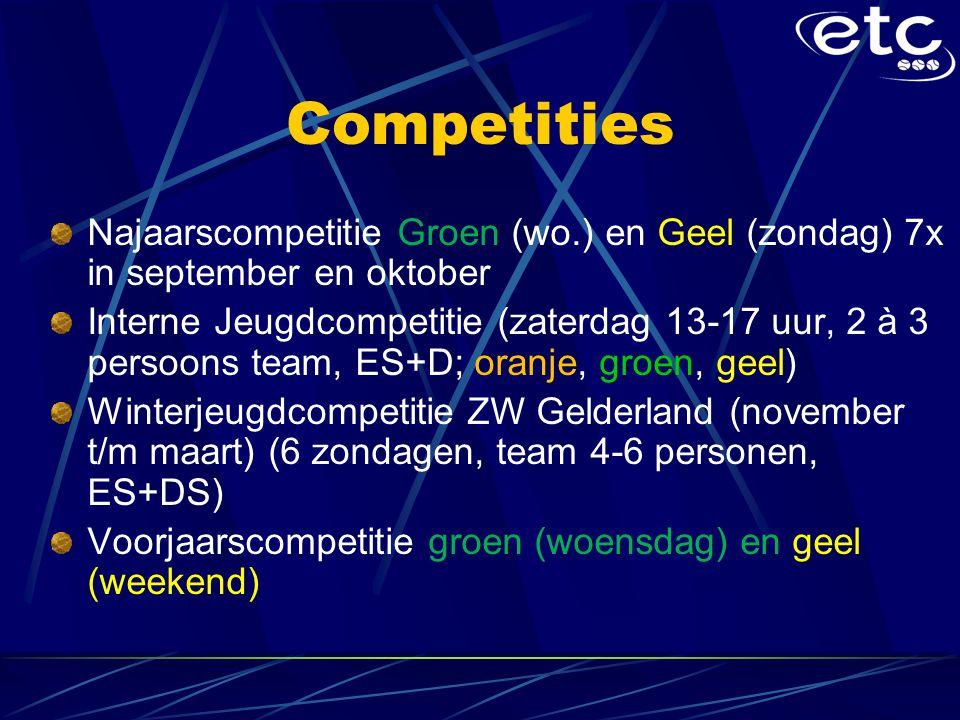 Competities Najaarscompetitie Groen (wo.) en Geel (zondag) 7x in september en oktober Interne Jeugdcompetitie (zaterdag 13-17 uur, 2 à 3 persoons team, ES+D; oranje, groen, geel) Winterjeugdcompetitie ZW Gelderland (november t/m maart) (6 zondagen, team 4-6 personen, ES+DS) Voorjaarscompetitie groen (woensdag) en geel (weekend)