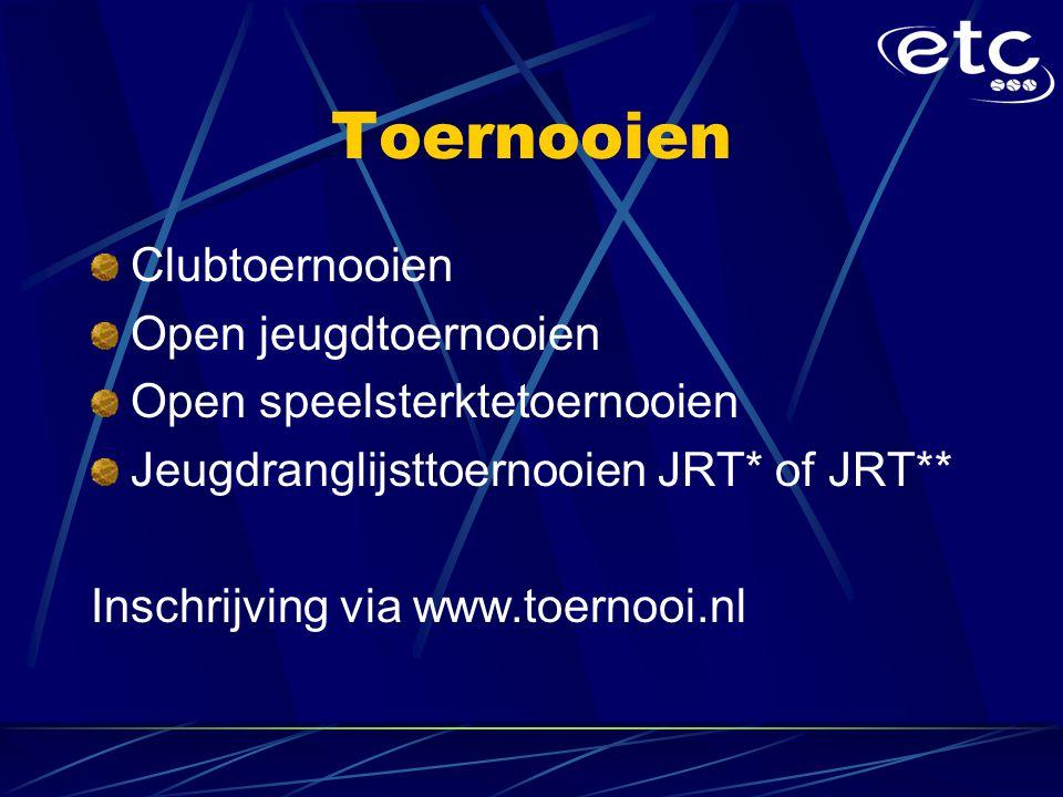 Toernooien Clubtoernooien Open jeugdtoernooien Open speelsterktetoernooien Jeugdranglijsttoernooien JRT* of JRT** Inschrijving via www.toernooi.nl