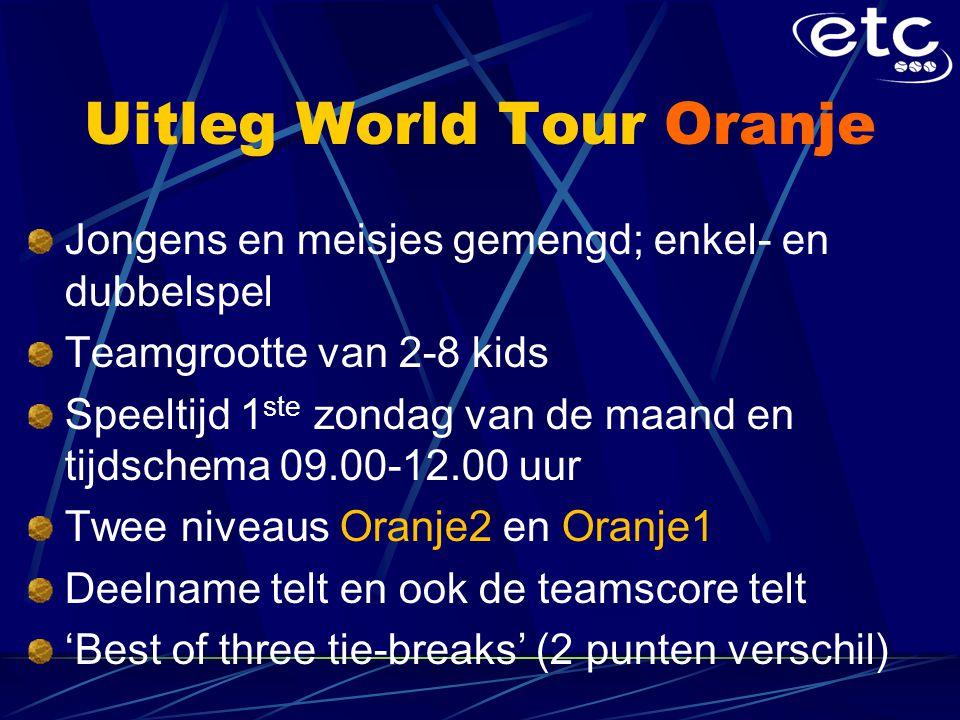 Uitleg World Tour Oranje Jongens en meisjes gemengd; enkel- en dubbelspel Teamgrootte van 2-8 kids Speeltijd 1 ste zondag van de maand en tijdschema 09.00-12.00 uur Twee niveaus Oranje2 en Oranje1 Deelname telt en ook de teamscore telt 'Best of three tie-breaks' (2 punten verschil)