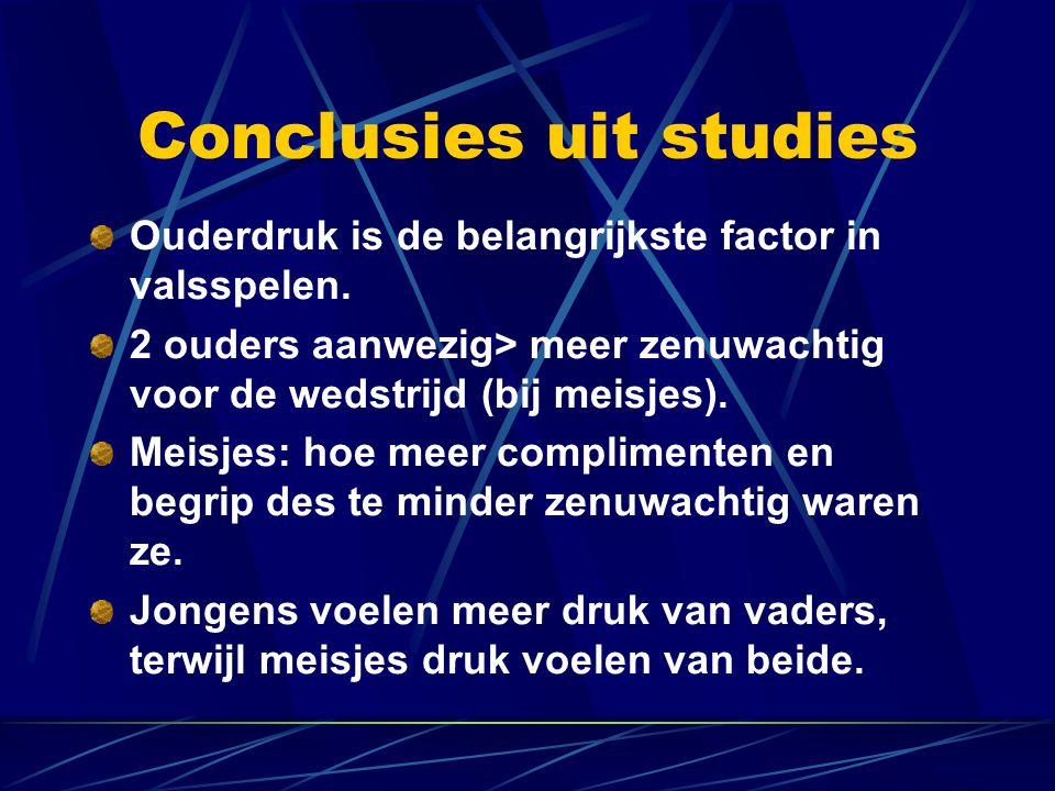 Conclusies uit studies Ouderdruk is de belangrijkste factor in valsspelen.