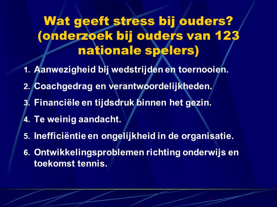 Wat geeft stress bij ouders.(onderzoek bij ouders van 123 nationale spelers) 1.