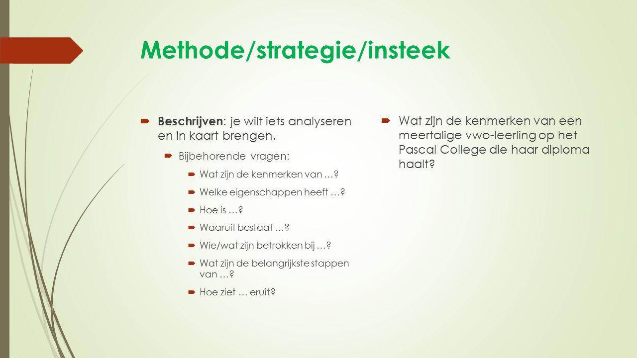 Methode/strategie/insteek  Beschrijven : je wilt iets analyseren en in kaart brengen.  Bijbehorende vragen:  Wat zijn de kenmerken van …?  Welke e