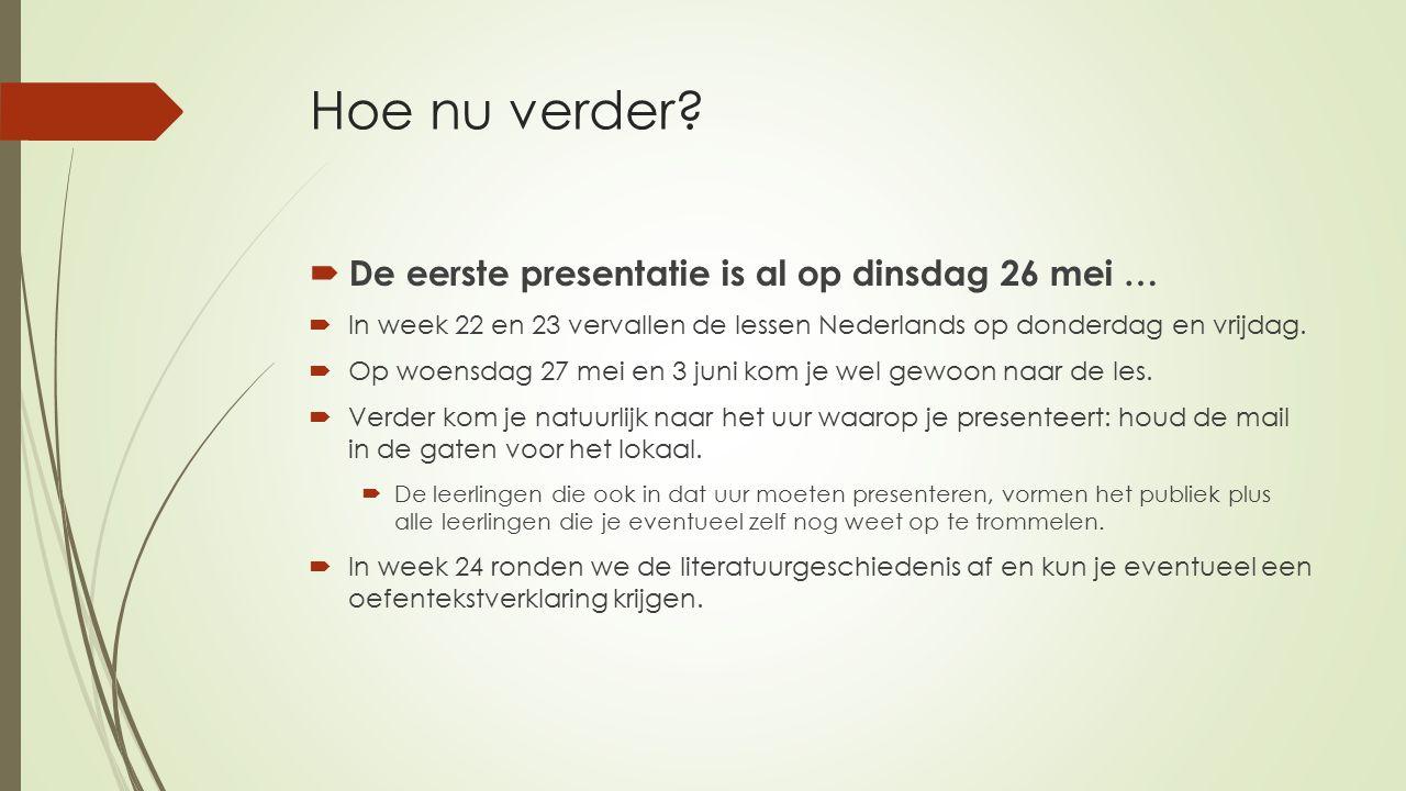 Hoe nu verder?  De eerste presentatie is al op dinsdag 26 mei …  In week 22 en 23 vervallen de lessen Nederlands op donderdag en vrijdag.  Op woens