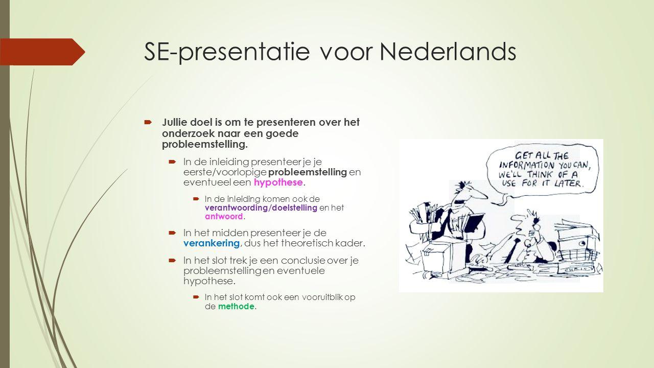 SE-presentatie voor Nederlands  Jullie doel is om te presenteren over het onderzoek naar een goede probleemstelling.  In de inleiding presenteer je