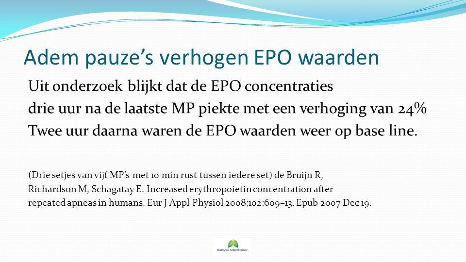 Adem pauze's verhogen EPO waarden Uit onderzoek blijkt dat de EPO concentraties drie uur na de laatste MP piekte met een verhoging van 24% Twee uur da