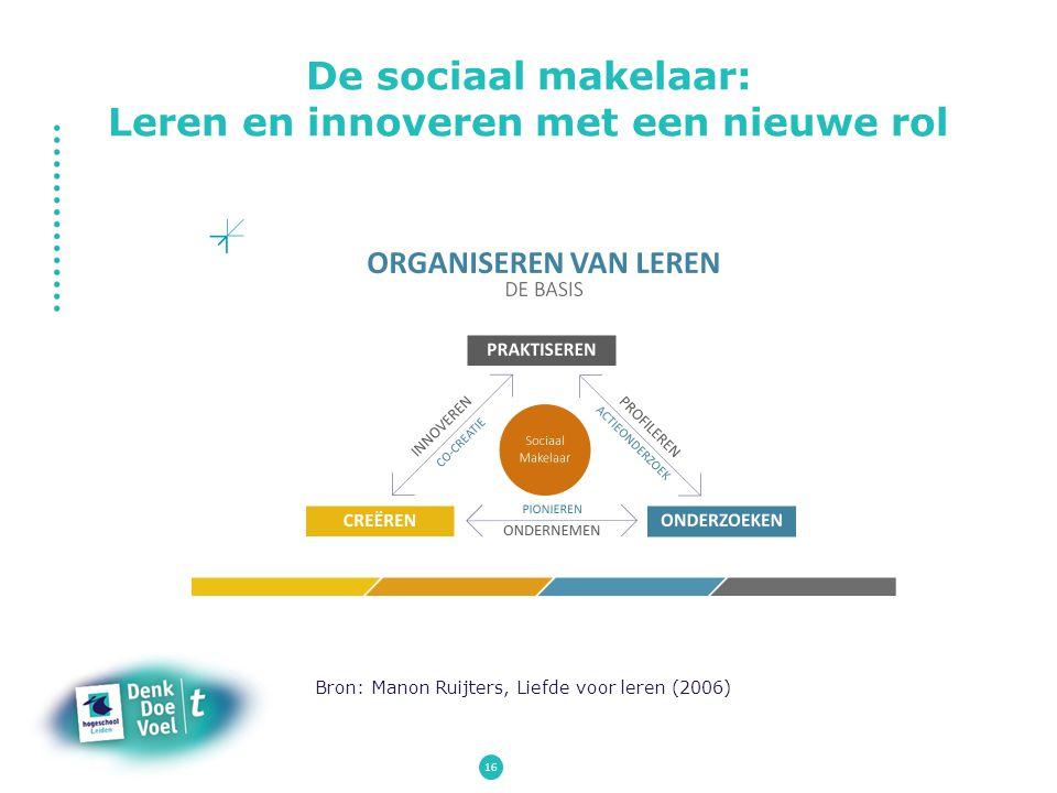 16 Bron: Manon Ruijters, Liefde voor leren (2006) De sociaal makelaar: Leren en innoveren met een nieuwe rol