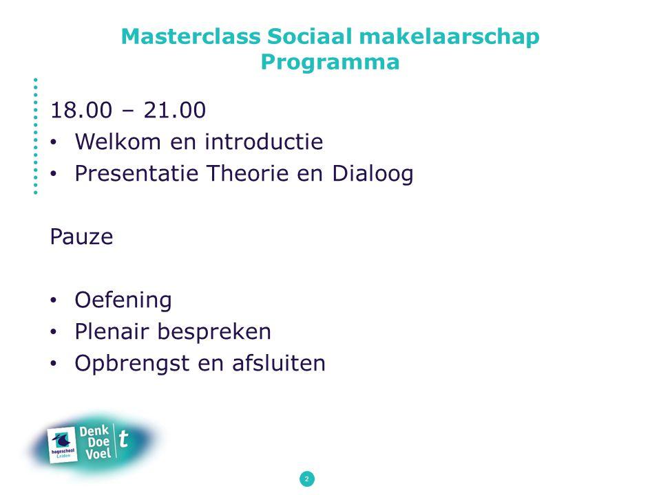 2 18.00 – 21.00 Welkom en introductie Presentatie Theorie en Dialoog Pauze Oefening Plenair bespreken Opbrengst en afsluiten Masterclass Sociaal makel