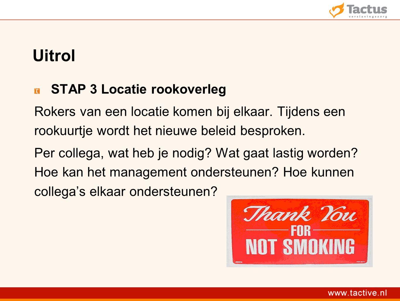 Uitrol STAP 3 Locatie rookoverleg Rokers van een locatie komen bij elkaar.