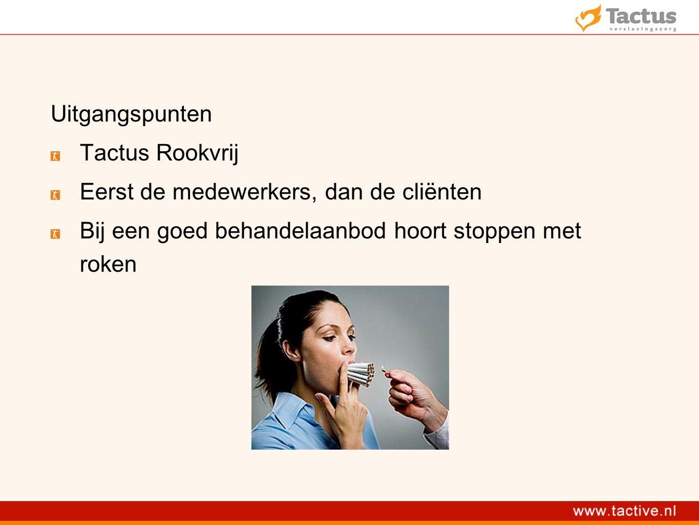 Uitgangspunten Tactus Rookvrij Eerst de medewerkers, dan de cliënten Bij een goed behandelaanbod hoort stoppen met roken