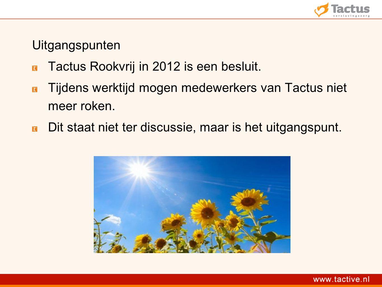 Uitgangspunten Tactus Rookvrij in 2012 is een besluit.