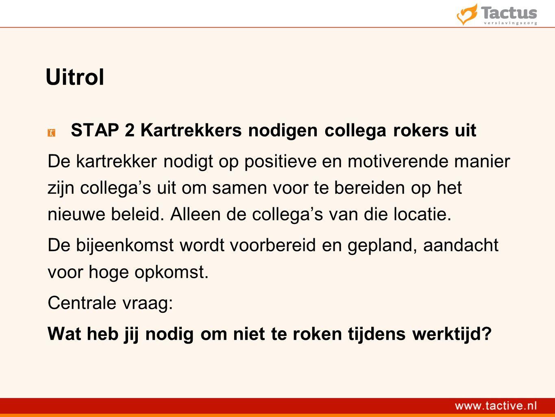 Uitrol STAP 2 Kartrekkers nodigen collega rokers uit De kartrekker nodigt op positieve en motiverende manier zijn collega's uit om samen voor te bereiden op het nieuwe beleid.