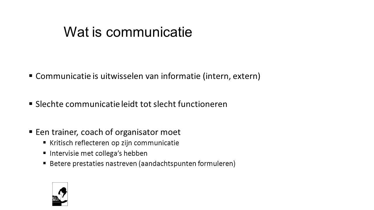 Wat is communicatie  Communicatie is uitwisselen van informatie (intern, extern)  Slechte communicatie leidt tot slecht functioneren  Een trainer,