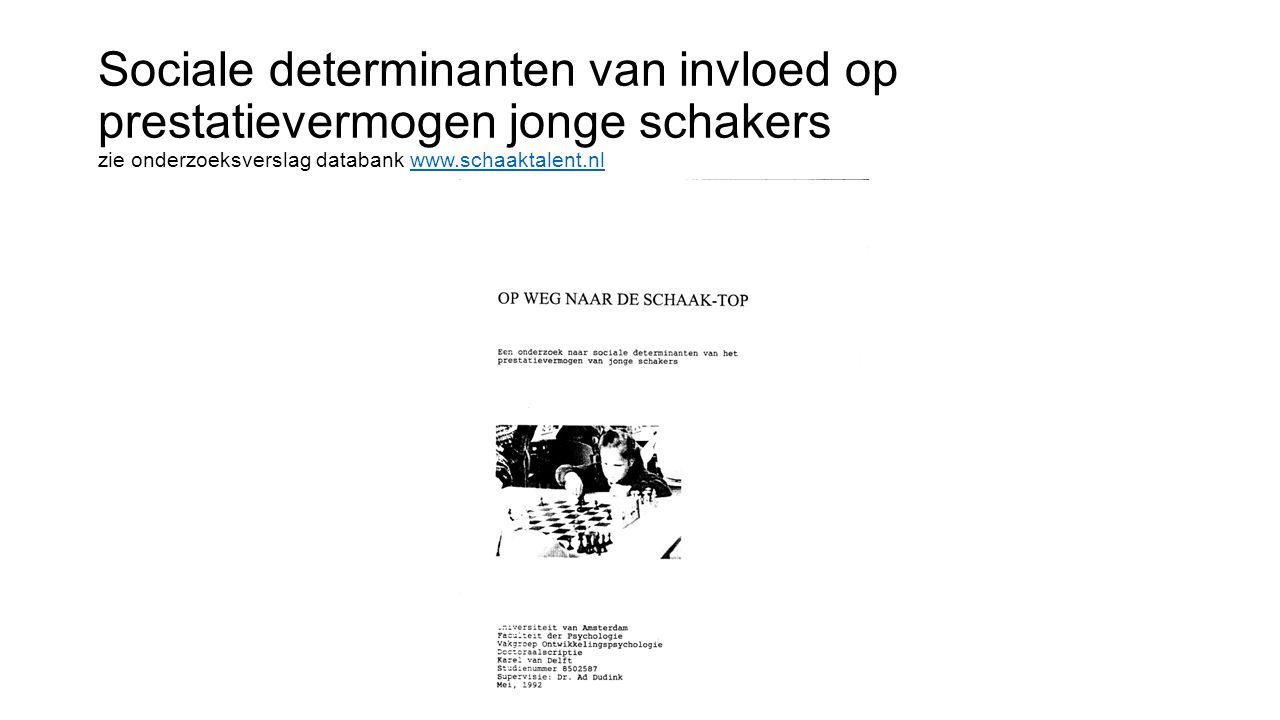 Sociale determinanten van invloed op prestatievermogen jonge schakers zie onderzoeksverslag databank www.schaaktalent.nlwww.schaaktalent.nl