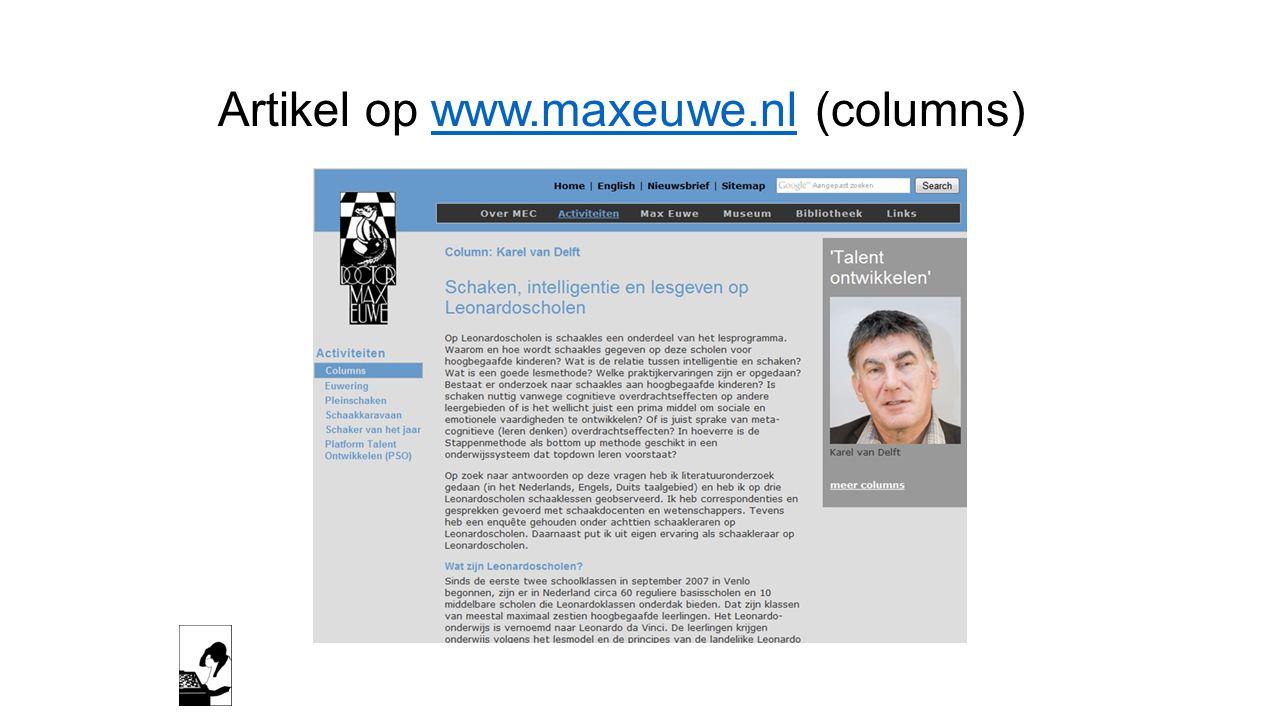 Artikel op www.maxeuwe.nl (columns)www.maxeuwe.nl