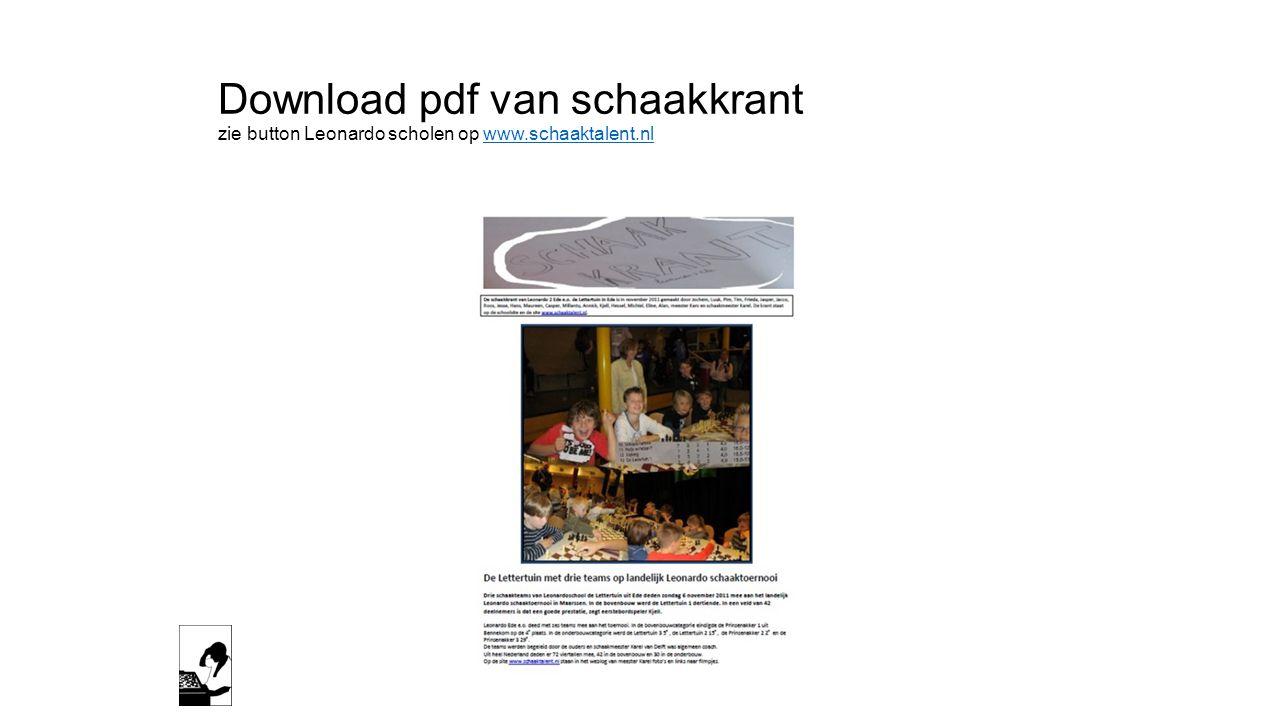 Download pdf van schaakkrant zie button Leonardo scholen op www.schaaktalent.nlwww.schaaktalent.nl