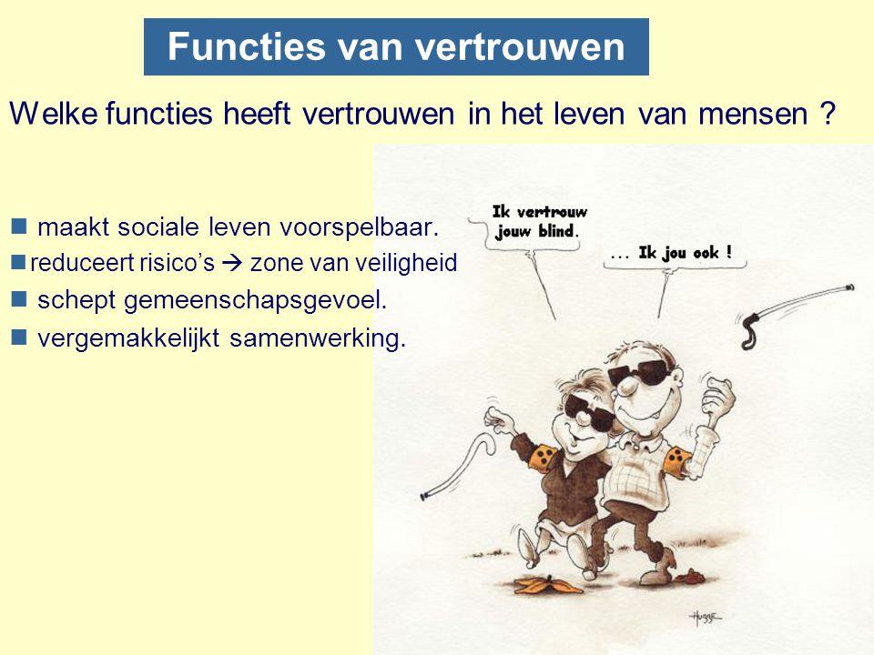 Functies van vertrouwen Welke functies heeft vertrouwen in het leven van mensen ? n maakt sociale leven voorspelbaar. nreduceert risico's  zone van v