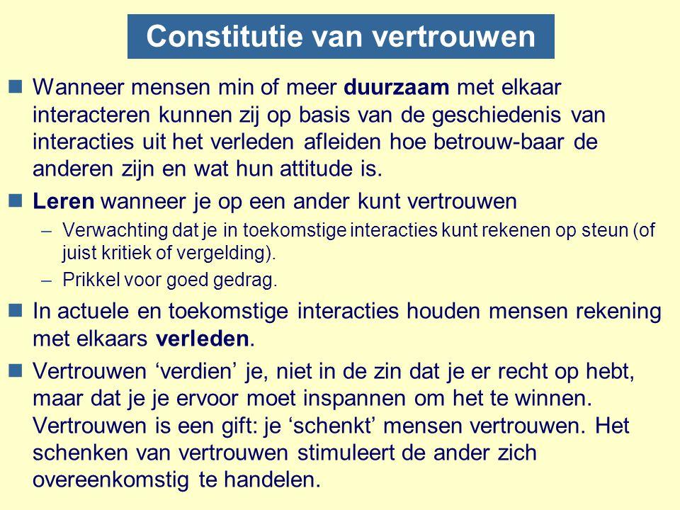 Constitutie van vertrouwen nWanneer mensen min of meer duurzaam met elkaar interacteren kunnen zij op basis van de geschiedenis van interacties uit he