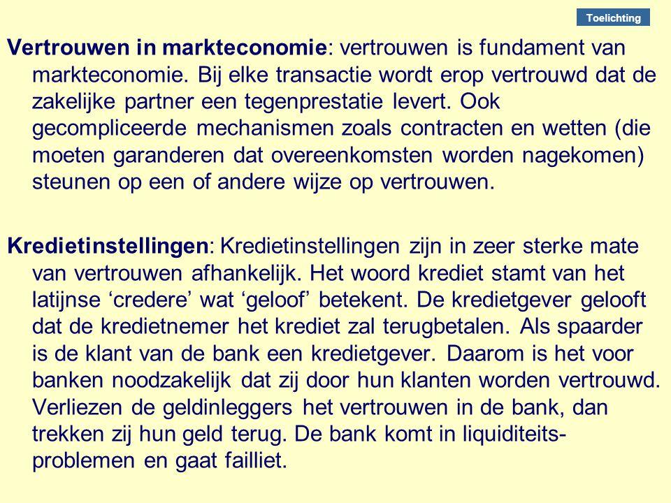 Vertrouwen in markteconomie: vertrouwen is fundament van markteconomie. Bij elke transactie wordt erop vertrouwd dat de zakelijke partner een tegenpre