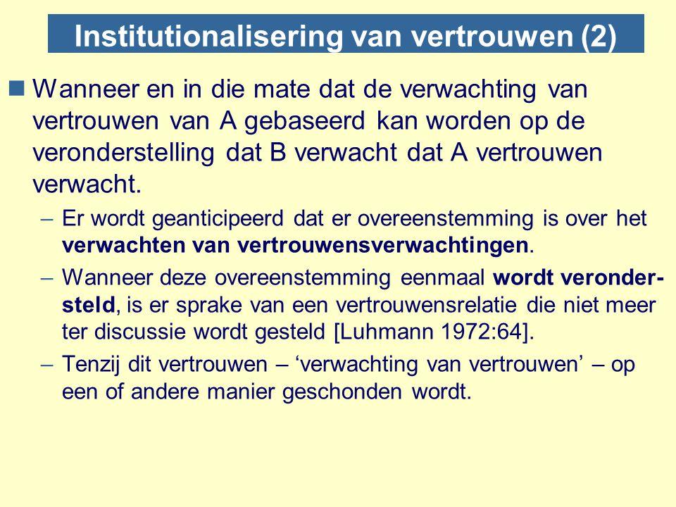 Institutionalisering van vertrouwen (2) nWanneer en in die mate dat de verwachting van vertrouwen van A gebaseerd kan worden op de veronderstelling da