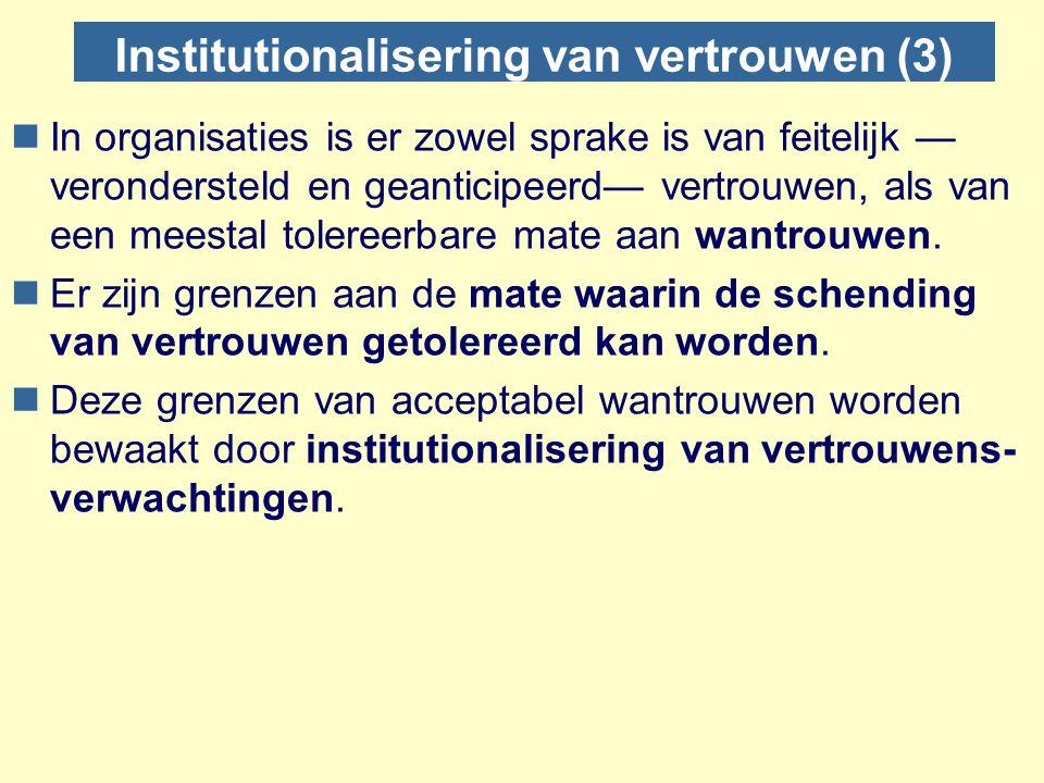 Institutionalisering van vertrouwen (3) nIn organisaties is er zowel sprake is van feitelijk — verondersteld en geanticipeerd— vertrouwen, als van een