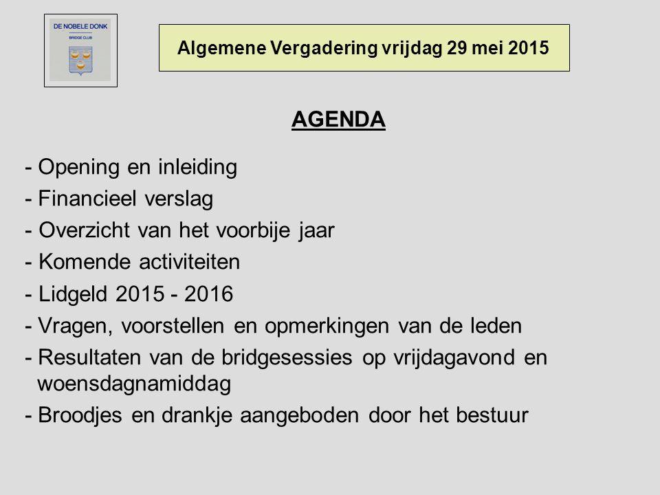 AGENDA - Opening en inleiding - Financieel verslag - Overzicht van het voorbije jaar - Komende activiteiten - Lidgeld 2015 - 2016 - Vragen, voorstelle