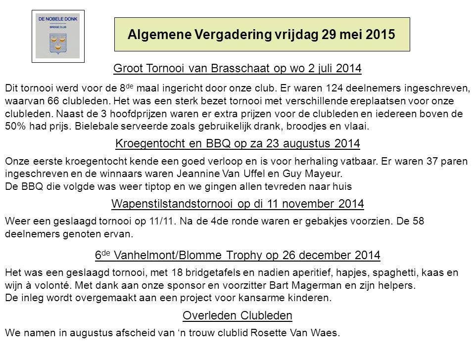 Algemene Vergadering vrijdag 29 mei 2015 Groot Tornooi van Brasschaat op wo 2 juli 2014 Dit tornooi werd voor de 8 de maal ingericht door onze club.